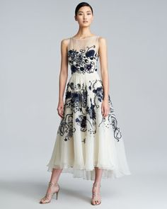Floral-Embroidered Silk Chiffon Dress by Lela Rose at Neiman Marcus.