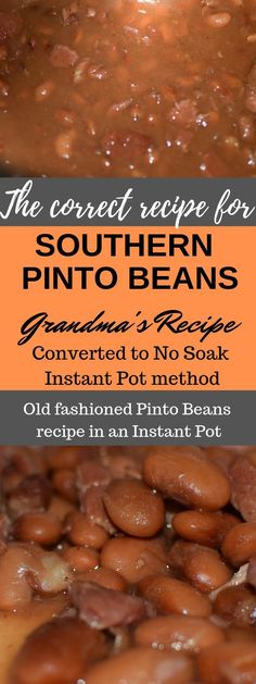 How To Make Southern Pinto Beans Old Fashioned Pinto Beans recipe In an Instant Pot Recipe. How to make true southern pinto beans. A step by step guide to making the perfect pinto beans with pictures. The straight forward way to make perfect creamy pinto Instant Pot Beans Recipe, Instant Pot Dinner Recipes, Pot Recipe, Making Recipe, Recipe Ideas, Southern Pinto Beans Recipe, Pinto Bean Recipes, Easy Bean Recipes, Free Recipes
