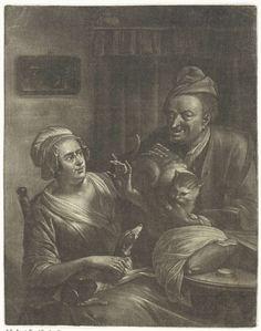 Aert Schouman | Twee figuren met een hond en een kat, Aert Schouman, 1720 - 1792 | In een vertrek zit een vrouw met op haar schoot een hond. Een man houdt een kat bij de hond. Aan de muur hangt een schilderij.