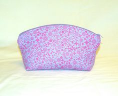 Extra Large Domed Make-Up Bag In a Tiny Floral Print in Orchid on Lavender by…