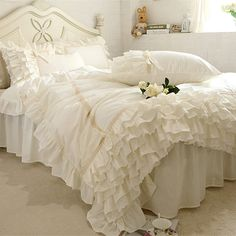 Cheap bedding set, Buy Quality luxury bedding set directly from China ruffle duvet Suppliers: New embroidery luxury bedding set beige lace cake layers ruffle duvet cover quality fabric bed sheet bedspread elegant bed skirt Beige Bedding Sets, Cheap Bedding Sets, Cotton Bedding Sets, Bed Linen Sets, Luxury Bedding Sets, Affordable Bedding, Queen Bedding Sets, Comforter Sets, Ruffle Duvet