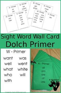 Free Dolch Primer Sight Word Wall Cards - Words sorting by letter on the wall cards. All 52 words inclucded - 3Dinosaurs.com