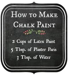 Chalk Paint Furniture - Need ideas for your furniture? - make chalk paint - chalk paint recipe Diy Chalk Paint Recipe, Make Chalk Paint, Chalk Paint Projects, Chalk Paint Furniture, Furniture Projects, Furniture Makeover, Diy Furniture, Homemade Chalk Paint, Furniture Refinishing
