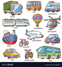 Find Vector Illustration Cartoon Transportation Vocabulary stock images in HD and millions of other royalty-free stock photos, illustrations and vectors in the Shutterstock collection. Thousands of new, high-quality pictures added every day. Learning English For Kids, English Lessons For Kids, Kids English, English Language Learning, English Study, Teaching English, English Vocabulary Words, Learn English Words, Flashcards For Kids