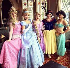 Aurora, Cinderella, Rapunzel, Snow White and Jasmine