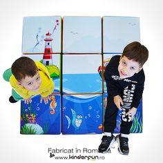 Copiii pot invata sa construiasca sau se pot face obstacole ce dezvolta imaginatia cat si conditia fizica. Materialul moale si culorile aprinse fac din aceasta forma o jucarie ideala pentru copii. Cubul gigant se mai poate folosi si ca scaun sau tamburet pentru copii. #softplay #ocean #temamarina #cuburicopii #cub #locdejoaca #kinderfun • Cu drag, Kinderfun™ Soft Play România » www.kinderfun.ro Cuba, Baseball Cards, Sports, Hs Sports, Sport