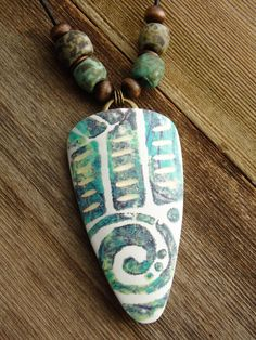 Polymer Clay Pendant featuring Abstract by WiredOrchidJewelry
