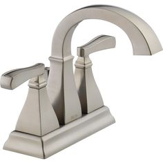 Delta Olmsted Spotshield Brushed Nickel 2-Handle 4-in Centerset WaterSense Bathroom Faucet (Drain Included)