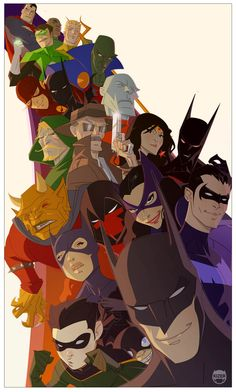 SO we have Batman, Robin, Batgirl, Red Hood, Cat Woman, Nightwing, Batman Beyond, The Demon, Gordon, Wonder Woman, Martian Manhunter, Flash, Aquaman, Green Lantern(x2), and Superman
