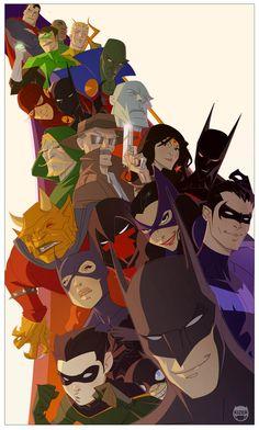 SO we have Batman, Robin, Batgirl, Red Hood, Cat Woman, Nightwing, Batman Beyond, The Demon, Gordon, Wonder Woman, Martian Manhunter, Flash, Aquaman, Green Lantern(x2), and Superman