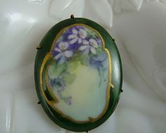 Beautiful Victorian Hand Painted Porcelain Pin with Violets