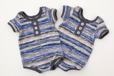 newborn boy short sleeve romper (Oliver) - photography prop - onesie, grey, blue, navy, cream, white, charcoal, buttons by adorableprops on Etsy