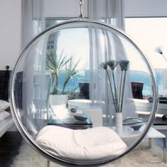 Hanging bubble chair.