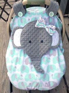 Sewing Baby Girl Made To Order Girls Minky Appliqued Elephant Fitted Car Seat Canopy With Peek-A--Boo Opening Two Layers Of Minky Girls Mint Grey by lindasnd on Etsy My Baby Girl, Our Baby, Baby Boys, Carters Baby, Baby Shower Gifts, Baby Gifts, Siege Bebe, Baby Elefant, Diy Bebe
