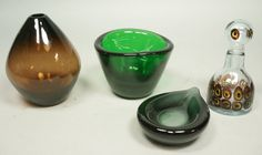 4pc Art Glass Lot.1. WILLY JOHANSSON Emerald Gree : Lot 24