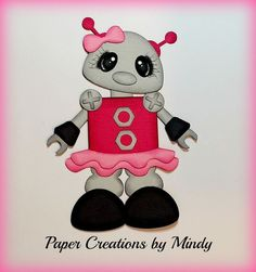 Craftecafe Mindy Robot Toy boy girl premade paper piecing for scrapbook page album border embellishment. This item is already adhered together and ready to add to your pages. Each piece is manually chalked and detailed.   eBay!