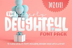 Ad: The Utterly Delightful Font Pack by Denise Chandler on Introducing: The Utterly Delightful Font Pack! 12 unique, hand-drawn fonts packaged together for over off! Also included are doodles and Slab Serif Fonts, Typography Fonts, Calligraphy Fonts, Script Fonts, All Fonts, Hand Drawn Fonts, Hand Lettering, Lettering Tutorial, Lettering Styles