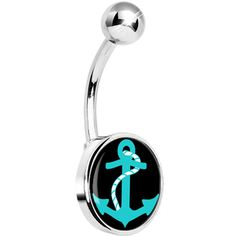 Ideas Piercing Nombril Ventre Noir For 2019 Anchor Belly Rings, Dangle Belly Rings, Belly Button Piercing Jewelry, Belly Button Rings, Stomach Piercings, Belly Art, Tragus Jewelry, Shape Tattoo, Body Jewellery