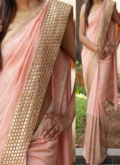 Peach Mirror Work Thread Work Georgette Banarasi Party Wear Half Sarees *with white border and top if you want white? Georgette Sarees, Lehenga Choli, Net Saree, Chiffon Saree, Saree Dress, Indian Dresses, Indian Outfits, Indian Clothes, Saris