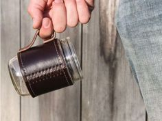 The Grommet team discovers a leather holder for Mason Jar drinking glasses by Holdster. Beautiful leather sleeves with and without handles for Mason Jars.