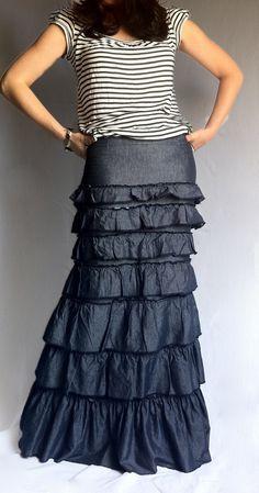 On Sale Denim Layered Ruffle Long Skirt  Blue by BoutiqueAlaMode, $65.00