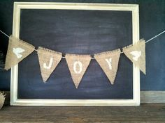 Joy with Doves Christmas Triangle Burlap Flag Pennant Bunting Banner by SweetThymes, $16.99