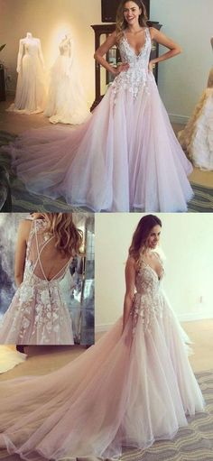 pink long prom dress, 2018 long prom dress with train, elegant v neck pink long wedding dress with train,384
