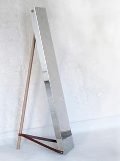 wood, steel and leather mirror