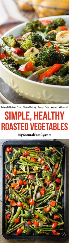These roasted veggies are life changing! Seriously. My whole family loves to eat our veggies now! Basically just chop up veggies, put them in a pan with a little oil and salt and roast until they are perfection!