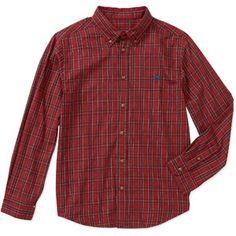Wrangler Boys' Long Sleeve Buttoned Down Plaid Shirt