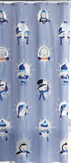 Peek A Boo Snow Friends Holiday Shower Curtain Rings/Hooks Set $28.95
