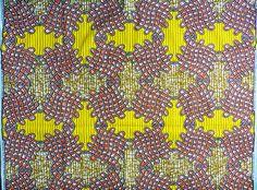 tissu wax africain * motif orange-jaune-ocre * par 0,50m