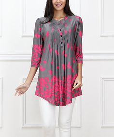 Look at this Gray & Pink Falling Petal Notch Neck Tunic on #zulily today!