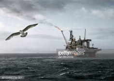 Stockfoto : Norway, North sea oil platform flaring off