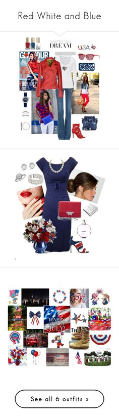 """""""Red White and Blue"""" by loves-fashion-style ❤ liked on Polyvore featuring M.i.h Jeans, Majestic, S.W.O.R.D., Nine West, Proenza Schouler, Moschino Cheap & Chic, Kate Spade, byblos, White House Black Market and Halcyon Days"""