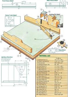Precision Crosscut Sled Plans - Table Saw Tips, Jigs and Fixtures - Woodworking, Woodworking Tips, Woodworking Techniques Woodworking Table Saw, Antique Woodworking Tools, Intarsia Woodworking, Woodworking Basics, Woodworking Workshop, Woodworking Techniques, Woodworking Classes, Woodworking Jigs, Woodworking Projects