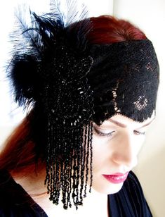 Antique Jet Fringe Feather Lace Victorian Headdress