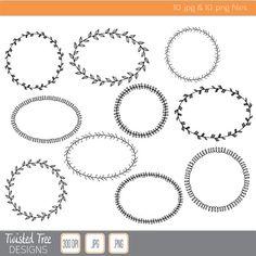 10 Hand Drawn Fancy Border Circle & Oval by TwistedTreeDigital