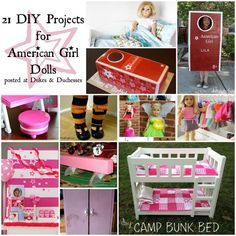 Do your kids love American Girl dolls? Check out these DIY projects for your American Girl, including accessories, clothing, and a costume! American Girl Parties, American Girl Crafts, American Girl Clothes, Girl Doll Clothes, American Dolls, Ag Doll Crafts, Diy Doll, Diy Crafts, Crafts For Girls