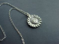 Sterling Silver Necklace - Sunflower Necklace - Garden Jewelry on Etsy, $44.00