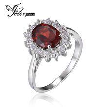 Принцесса Диана Кейт 3.4ct Природные Красный Гранат Кольцо 100% Pure 925 Серебряное Кольцо Женщины Моды Роскошь Натурального камня, Украшения(China (Mainland))
