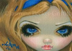 Alice-in-Wonderland-Design-ACEO-Jasmine-Becket-Griffith-big-eye-art-lowbrow-ATC --- Winning bid: US $137.50 Approximately AU $156.43