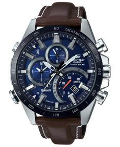 G-Shock Men's Solar Analog-Digital Edifice Brown Leather Strap Watch 48.1mm