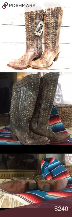 Size 6 Corral Boots Chocolate Full Studded C2817 NWOT. Tried them on once and they didn't fit me right.  Perfect condition.  Beautiful boots that can be dressed up or down. Cowboy boots, with a little bit of rock n' roll flare (the studs)! Corral Boots Shoes