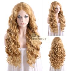 Long-Wavy-26-034-Golden-Brown-Mixed-Light-Blonde-Lace-Front-Wig-Heat-Resistant
