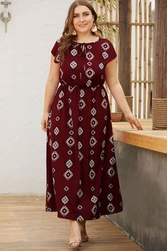 Casual Plus Size Maxi Dresses Ideas dark red tribal print elastic waist maxi casual plus size dress Casual Plus Size Maxi Dresses. Here is Casual Plus Size Maxi Dresses Ideas for you. Casual Plus Size Maxi Dresses women summer casual big size maxi dr. Vestidos Plus Size, Plus Size Maxi Dresses, Short Sleeve Dresses, Plus Size Bohemian, Knot Dress, Casual Summer Dresses, Dress Casual, Plus Size Fashion, Plus Size Women