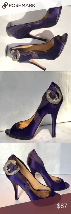 Gorgeous Deep Purple Badgley Mischka Heels Gorgeous Deep Purple Satin and Silk Badgley Mischka Peep Toe Heels with Rhinestone Broach Accents. Great pre-loved condition. Very slight shadow imprint markings on the satin instep at the toe, as with most satin shoes that have been worn. See photos. Badgley Mischka Shoes Heels