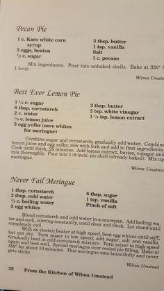 Nana's cookbook p32 Retro Recipes, Old Recipes, Cookbook Recipes, Vintage Recipes, Baking Recipes, Sweet Recipes, Cake Recipes, Dessert Recipes, Sweet Desserts
