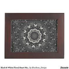 Shop Black & White Floral Heart Mandala Keepsake Box created by BlueRose_Design. Wooden Keepsake Box, Keepsake Boxes, Mahogany Color, Black Velvet, Colorful Backgrounds, Mandala, Tapestry, Black And White, Heart