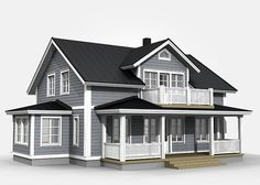 New England Hus, Home Suites, Sims House Design, Sims Building, Grey Exterior, Sims 4 Houses, House Elevation, House With Porch, Farmhouse Plans